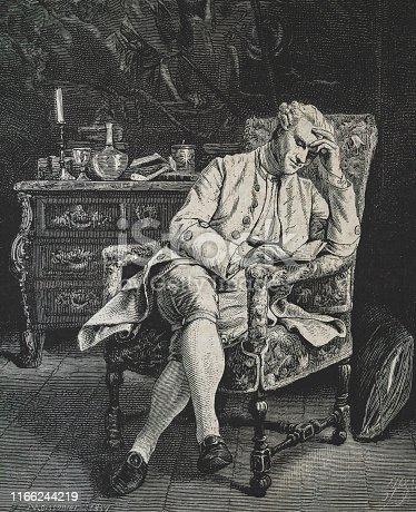 history, vintage, illustration, retro style,  19th Century Style, old, reading, Reader