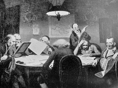 The reading cabinet at a round table, 7 men reading newspapers
