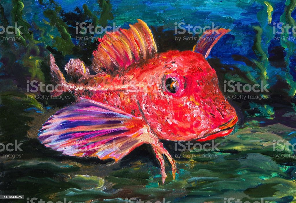 The Red gurnard on seabed in the grass vector art illustration