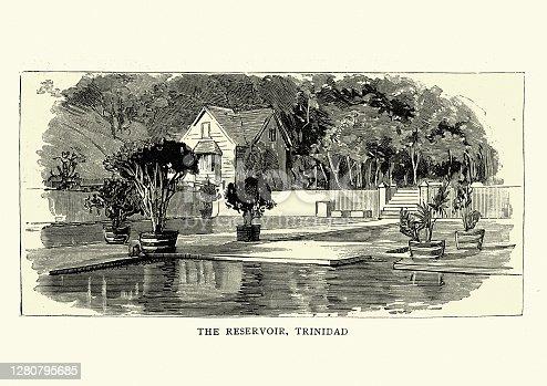 Vintage illustration of The reservoir, Trinidad, 1888, 19th Century