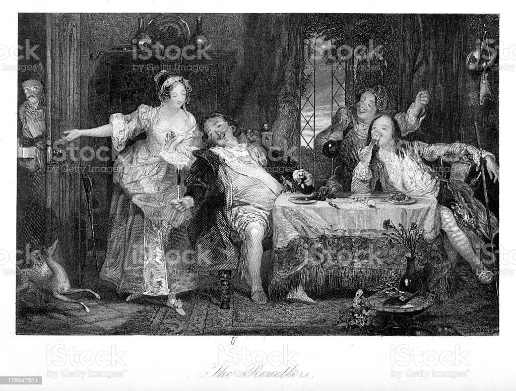 The Revellers - 18th century party vector art illustration