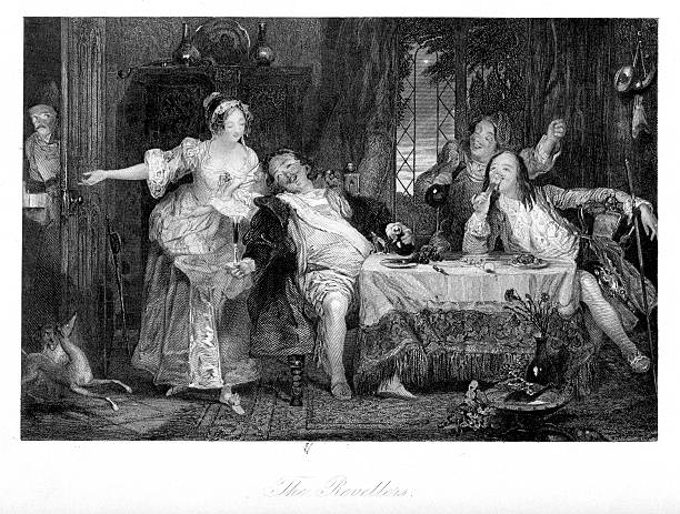 stockillustraties, clipart, cartoons en iconen met the revellers - 18th century party - 18e eeuw