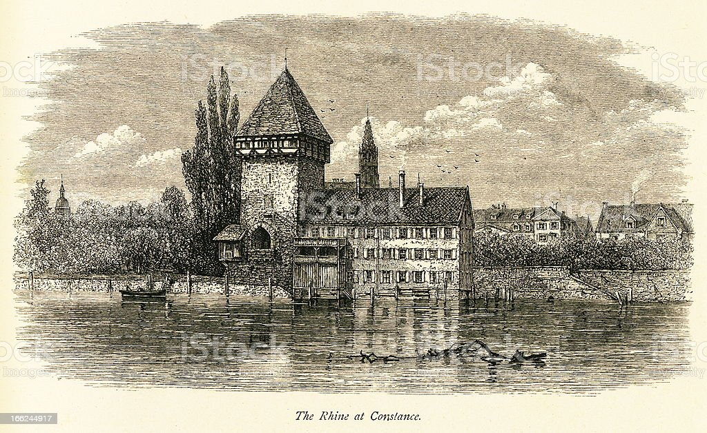The Rhine at Konstanz, Germany (antique wood engraving) royalty-free stock vector art