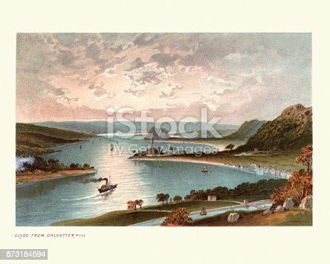 Vintage colour engraving of The River Clyde from Dalnotter Hill, Scotland, 19th Century
