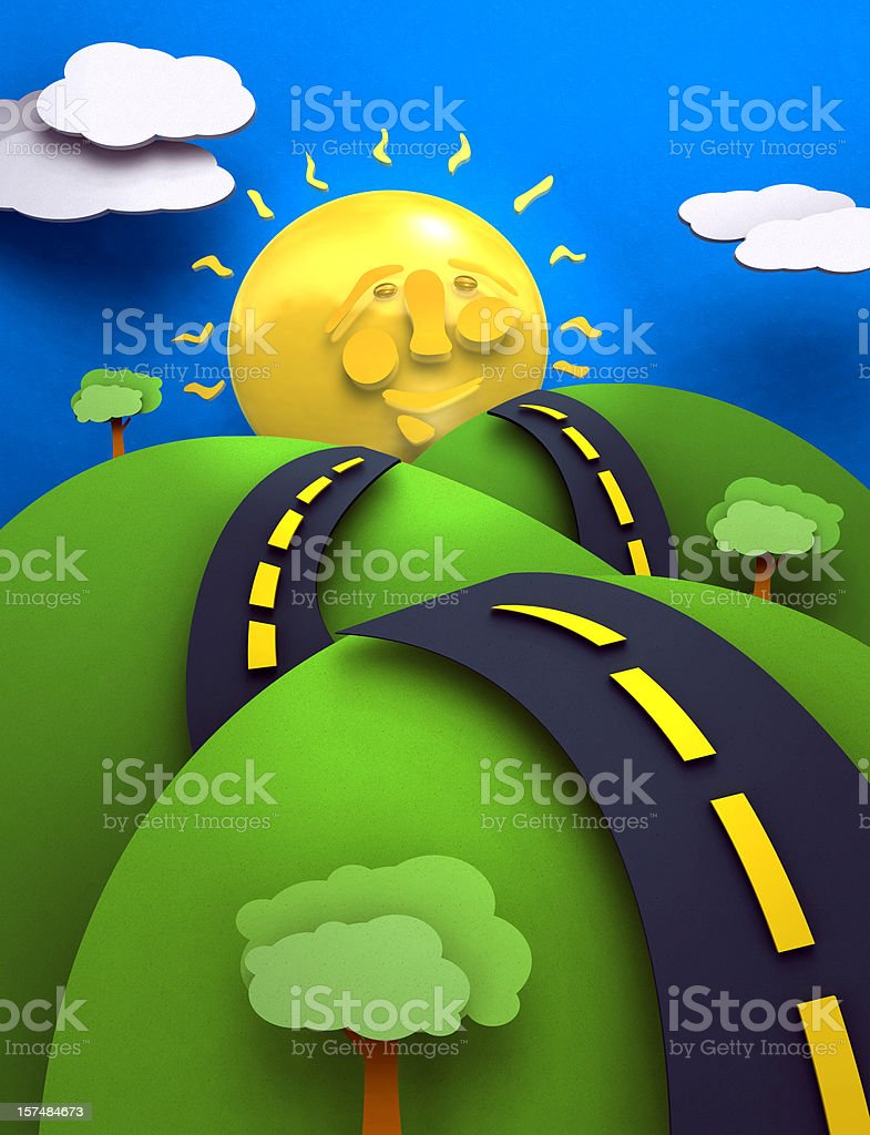 The Road to Happiness vector art illustration