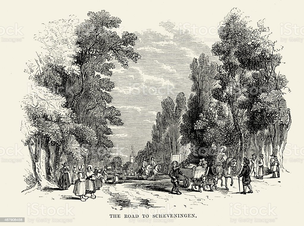 The Road to Scheveningen, Netherlands, 19th Century vector art illustration