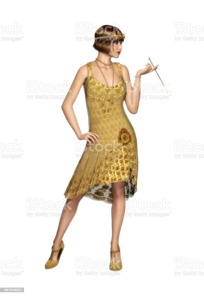 The Roaring 20s Woman Flapper Dancer Dress vector art illustration