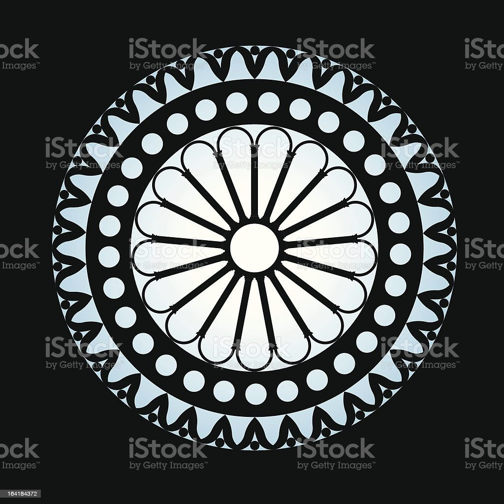 the rose window in negative royalty-free stock vector art