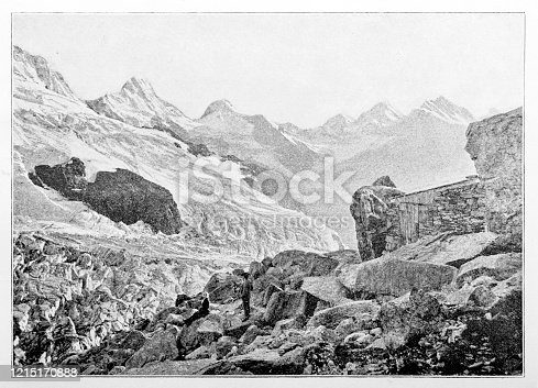 Illustration of the Rottal Hut (German: Rottalhütte) is a mountain hut of the Swiss Alpine Club, located south of Lauterbrunnen in the canton of Bern