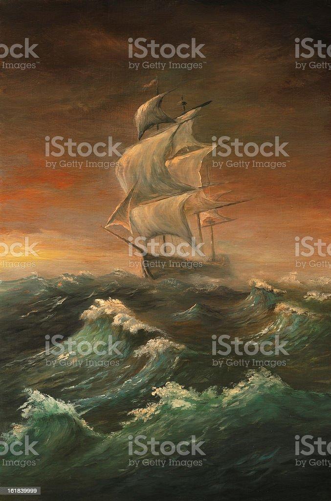 The rough sea vector art illustration