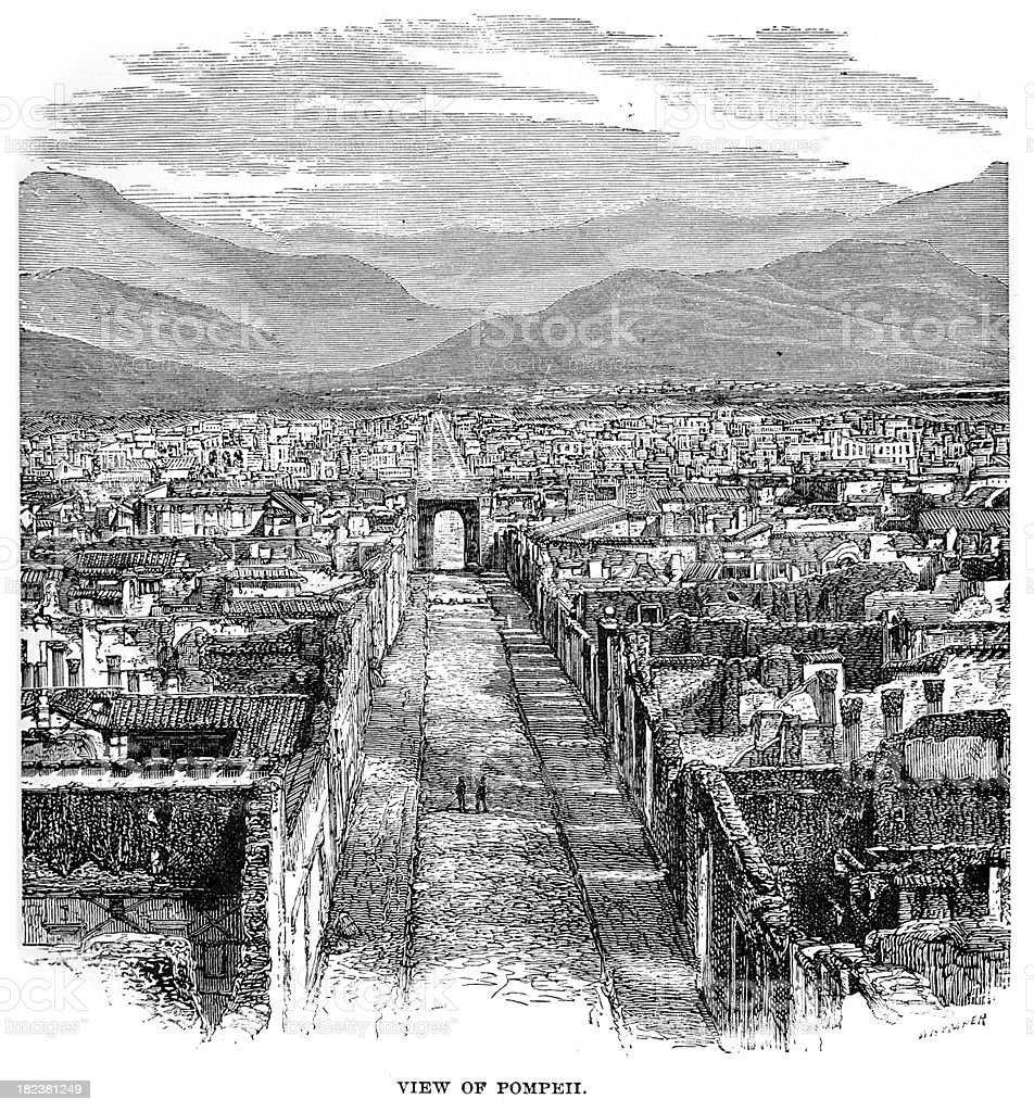The Ruins of Ancient Pompeii royalty-free the ruins of ancient pompeii stock vector art & more images of 19th century