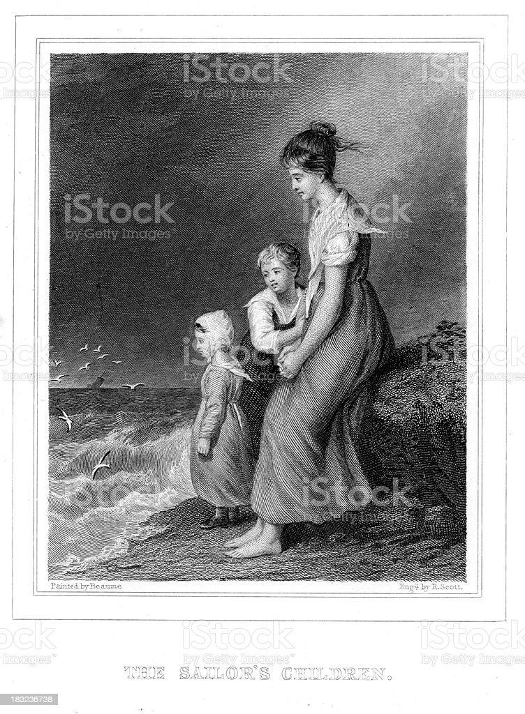 The Sailor's Children royalty-free stock vector art