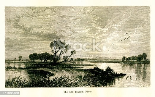 San Joaquin River, California. Published in Picturesque America or the Land We Live In (D. Appleton & Co., New York, 1872).