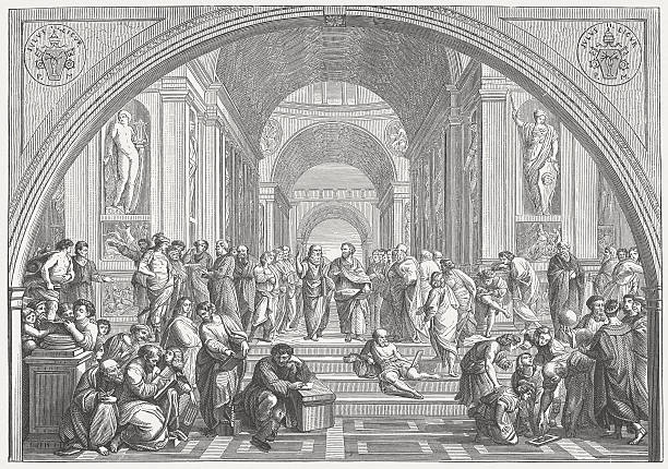 The School of Athens (Vatican) by Raffael, published in 1873 vector art illustration