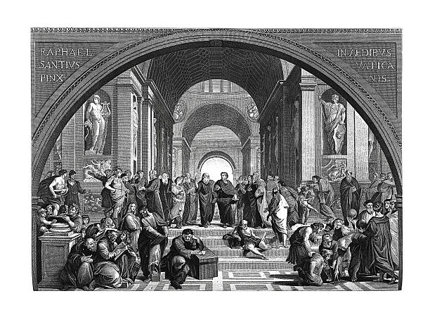 The school of Athens (antique engraving after Raphael's fresco) vector art illustration