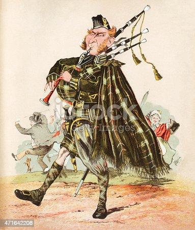 istock The Scottish Piper - Victorian print 471642208
