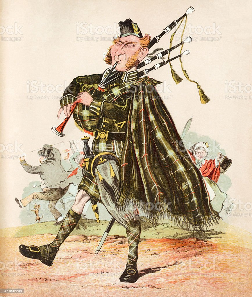The Scottish Piper - Victorian print vector art illustration