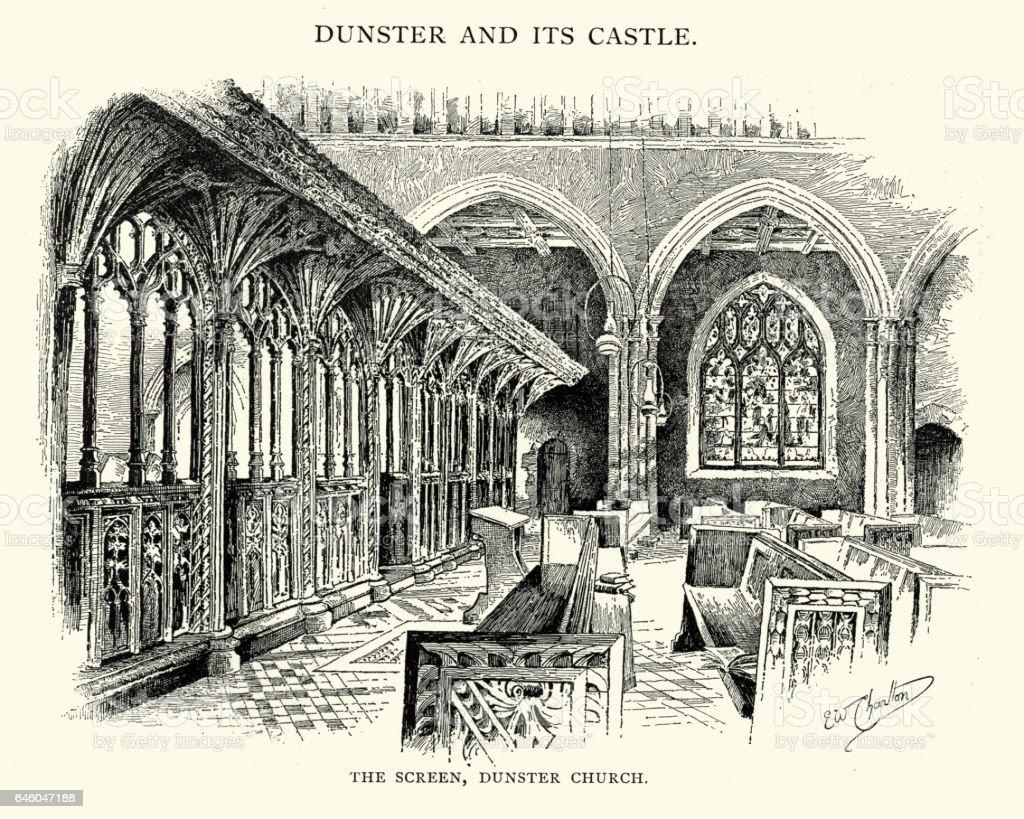 The Screen of Dunster Church vector art illustration