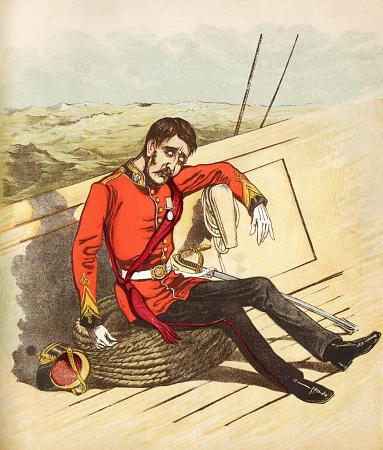 The seasick Marine - Victorian print