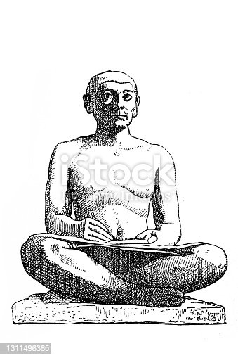 istock The Seated Scribe. Wood engraving after a painted limestone statue (2600s BCE), found (1850) in Saqqara, Egypt, today in the Musee du Louvre, Paris 1311496385