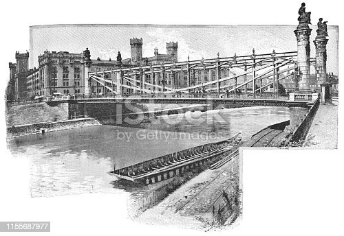 The second Augartenbrucke (Augarten Bridge) in Vienna, Austria. The Austro-Hungarian Empire era (circa 19th century). Vintage halftone etching circa late 19th century. This is the second version of the bridge built in 1873. In 1931 it was rebuilt to accommodate the increase in traffic.