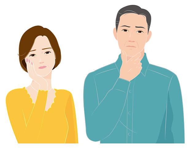 年配のカップルの方は、質問 - 夫婦点のイラスト素材/クリップアート素材/マンガ素材/アイコン素材