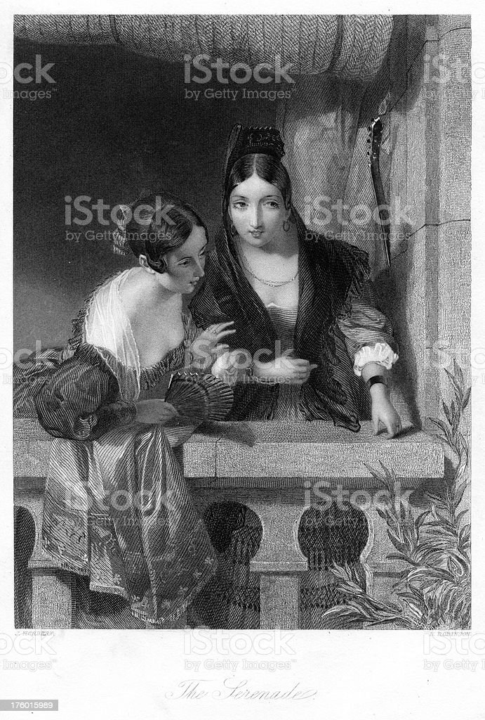 The Serenade - Traditionally Spanish women 19th century royalty-free the serenade traditionally spanish women 19th century stock vector art & more images of 19th century