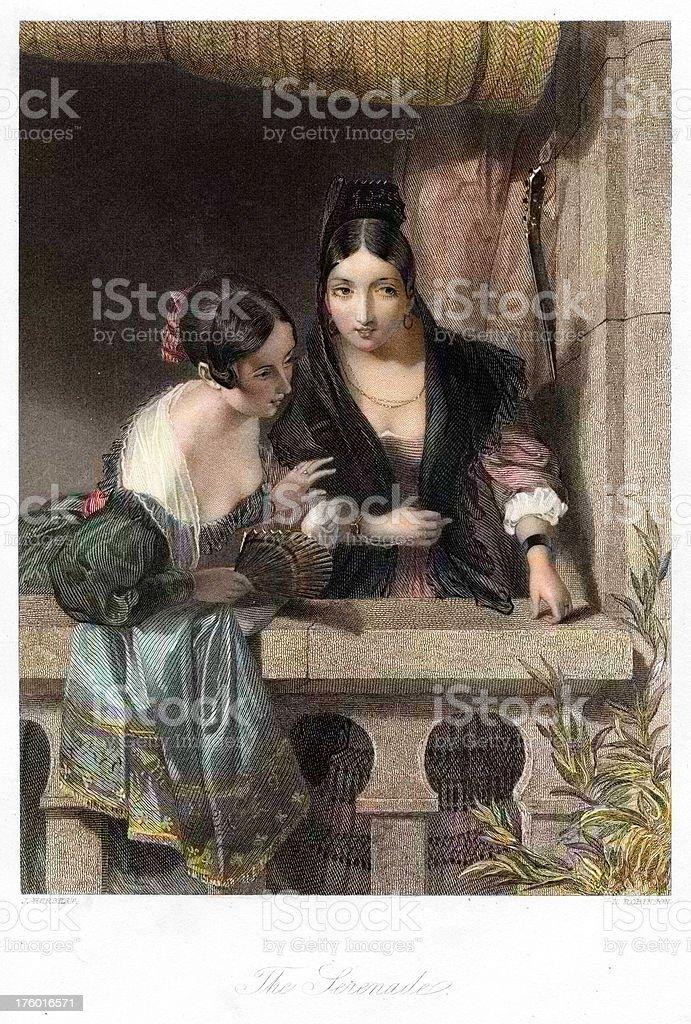 The Serenade - Traditionally Spanish women 19th century royalty-free stock vector art