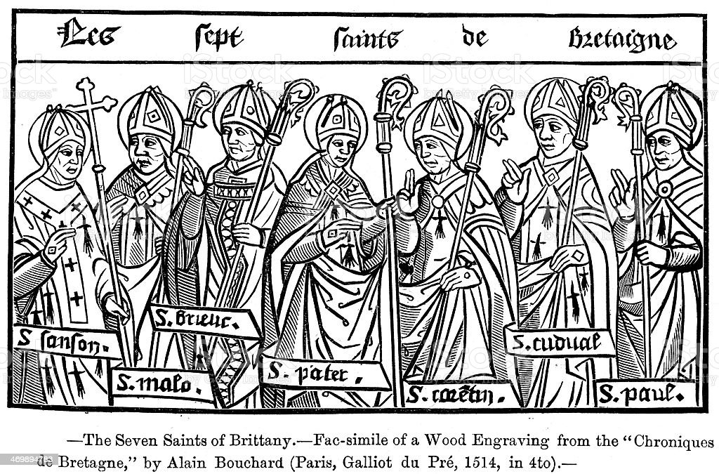 The Seven Saints of Brittany royalty-free stock vector art