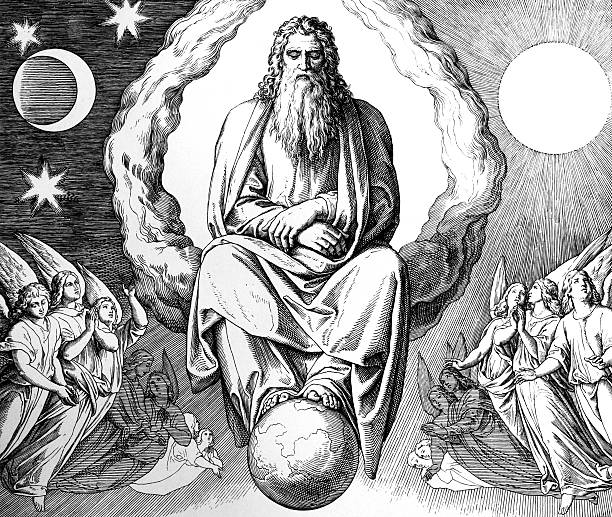 The seventh day of creation Engraving by the German painter Julius Schnorr von Carolsfeld (March 26, 1794 - May 24, 1872) god stock illustrations