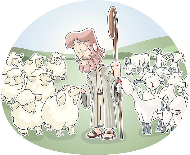 The Sheep and Goats vector art illustration