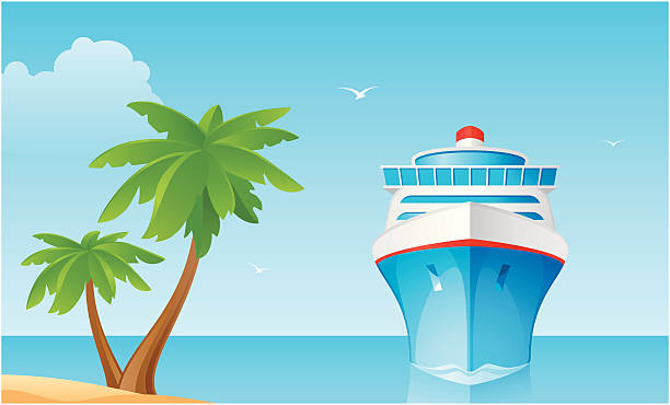 Сruise ship A!ruise ship and palm tree in the background of blue ocean and sky. cruise vacation stock illustrations
