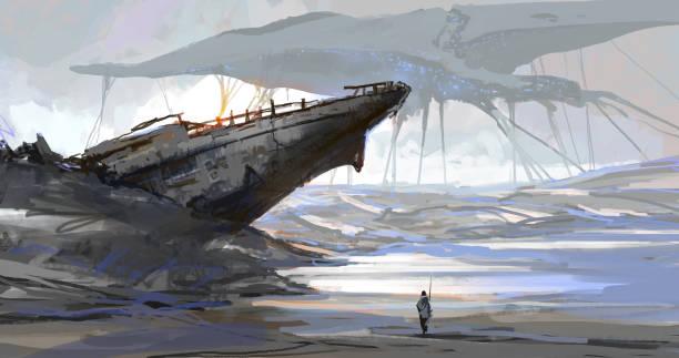 Das Schiff, das vom trockenen Meer gestrandet war, die Erdszene nach dem Einmarsch der Aliens, digitale Illustration. – Vektorgrafik