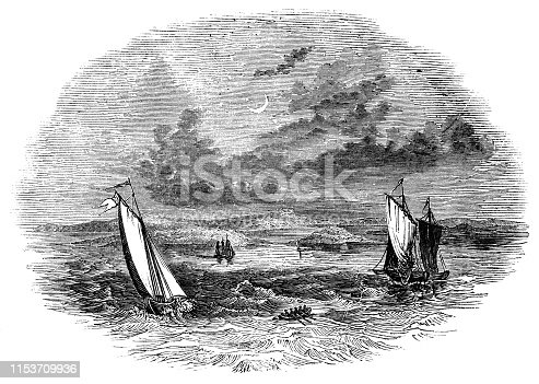 The shipwreck of the Sea Venture at the island of Bermuda (circa 17th century) from the Works of William Shakespeare. Vintage etching circa mid 19th century.
