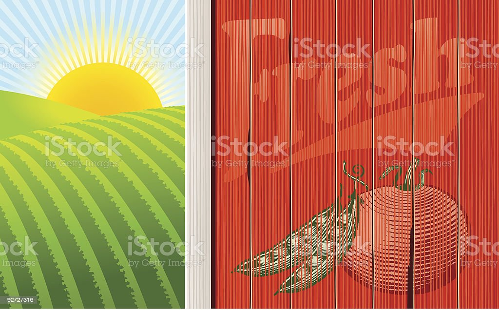 The side of a barn with sunrise beyond royalty-free stock vector art