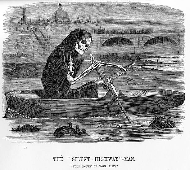 The silent highway man Vintage engraving showing the grim reaper in a rowing boat on the Thames in London, illustrating how badly polluted the river was in the mid 19th century. Engraving from 1854 photo by d walker epidemic stock illustrations