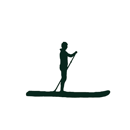The silhouette of a man on a board with a paddle. Water sport. Active recreation. Illustration for invitations, postcards, banners, posters. Design for printing. Holiday illustration. Design elements