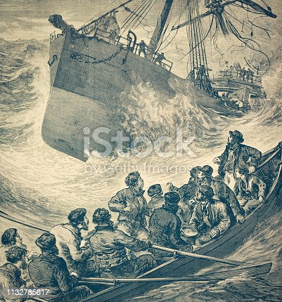 sailor, history, vintage, illustration, retro style,  19th Century Style, old, sailing ship, storm, wreck, Steamer, sinking,
