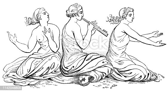 The Sirens, Ancient Greek mythological creatures that would lure men with their heavenly voices and music. Vintage etching circa mid 19th century.
