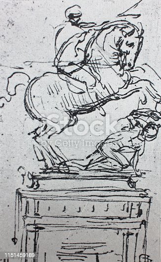 The sketch of statue of horseman by Leonardo da Vinci in the vintage book Leonardo da Vinci by A.L. Volynskiy, St. Petersburg, 1899