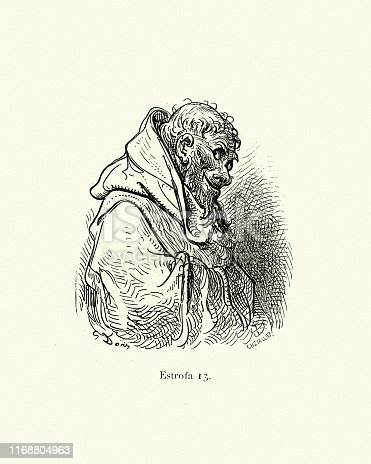 Vintage illustration from the story Orlando Furioso. The sly monk. Orlando Furioso (The Frenzy of Orlando) an Italian epic poem by Ludovico Ariosto, illustrated by Gustave Dore. The story is also a chivalric romance which stemmed from a tradition beginning in the late Middle Ages.