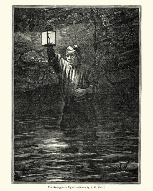 The Smuggler's Signal, 19th Century Vintage engraving of a smuggler using a lantern to signal to his accomplices, 19th Century smuggling stock illustrations