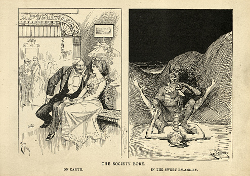 The society bore, on earth and in hell, satirical Victorian cartoon on hell