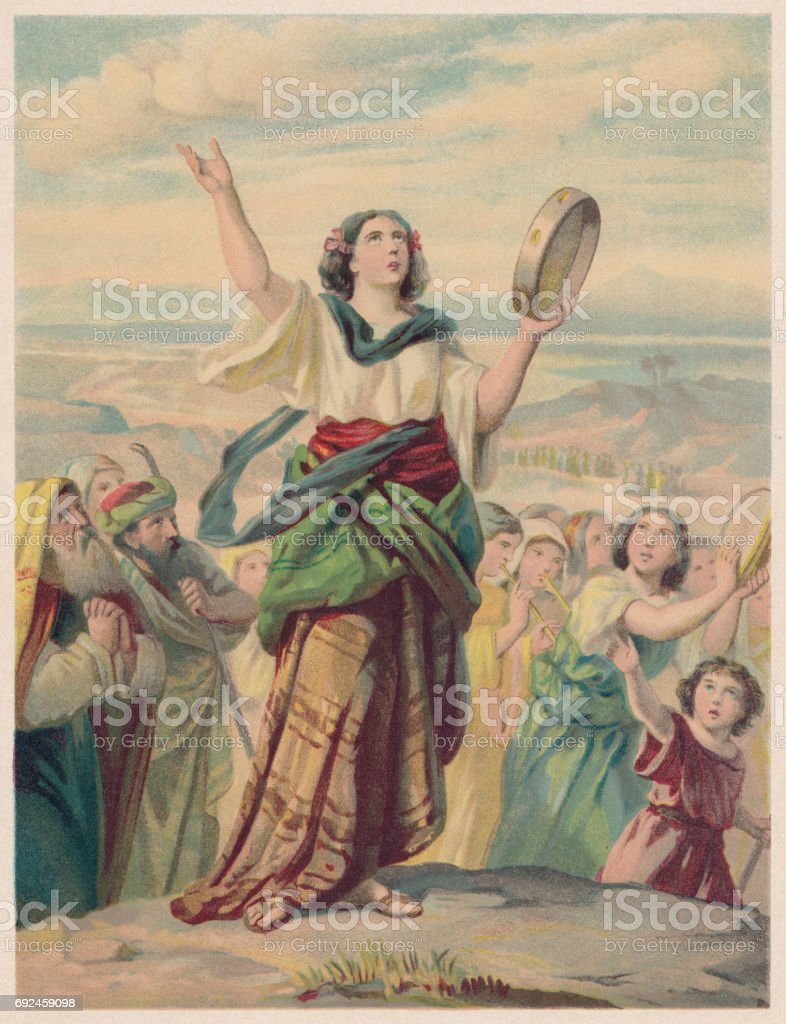The Song of Miriam (Exodus 15, 20-21), chromolithograph, published 1886 vector art illustration