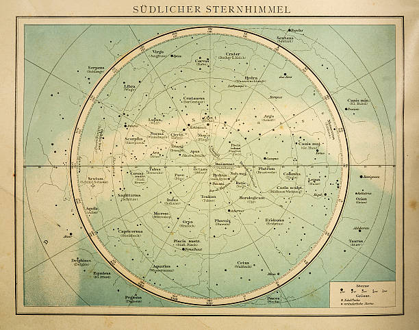 южный небо гравировкой 1896 - астрономия stock illustrations