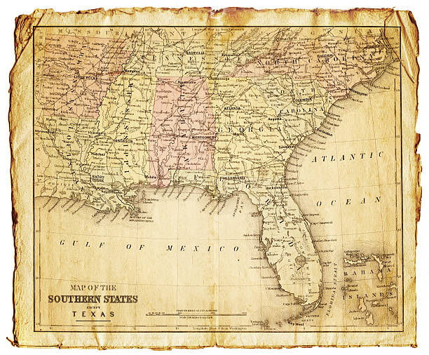 the southern states usa map vector art illustration