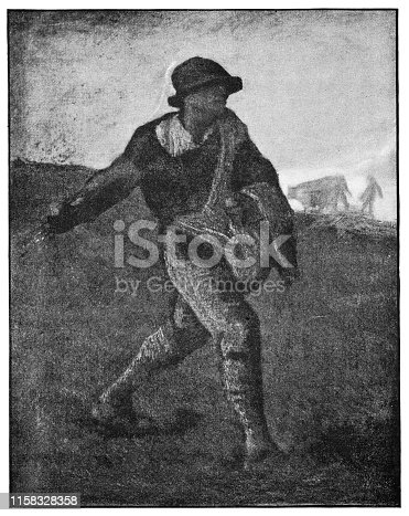 The Sower by Jean-Francois Millet (circa 19th century). Vintage etching circa late 19th century.