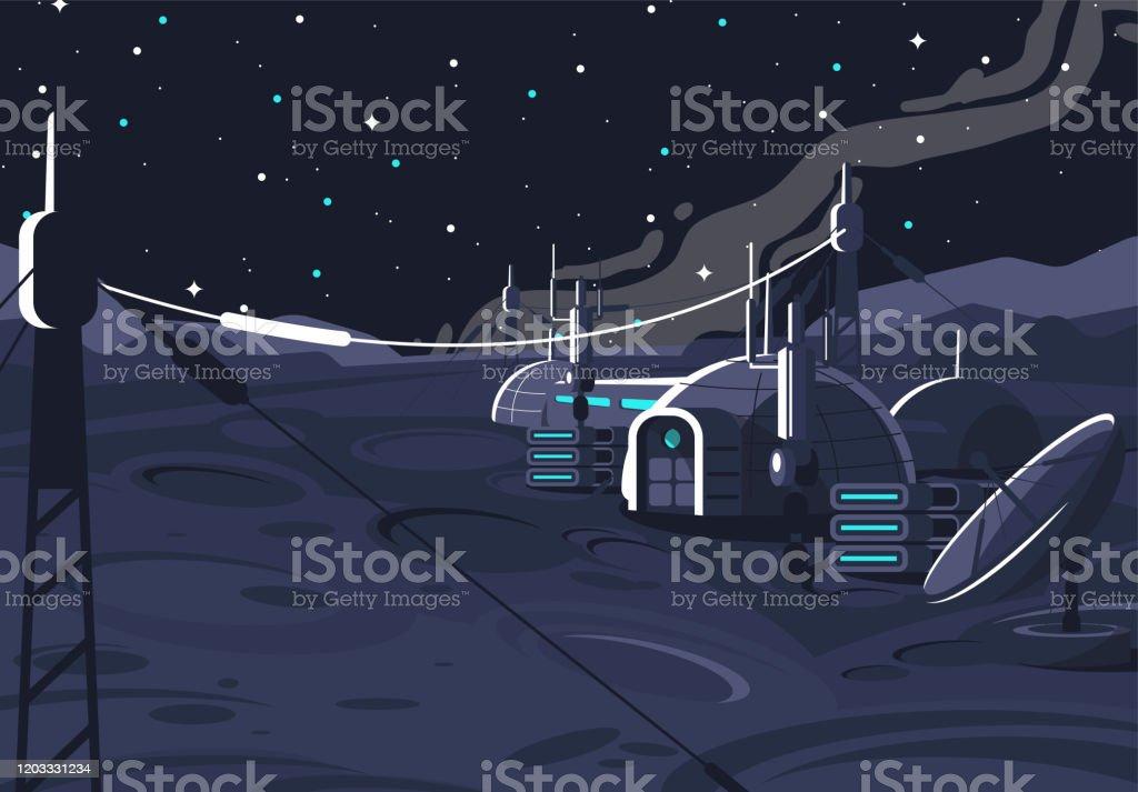 la estación orbital lunar espacial, módulo cápsula habitada en la luna, comunicación con la tierra, casa espacial en el satélite - Ilustración de stock de Abierto libre de derechos