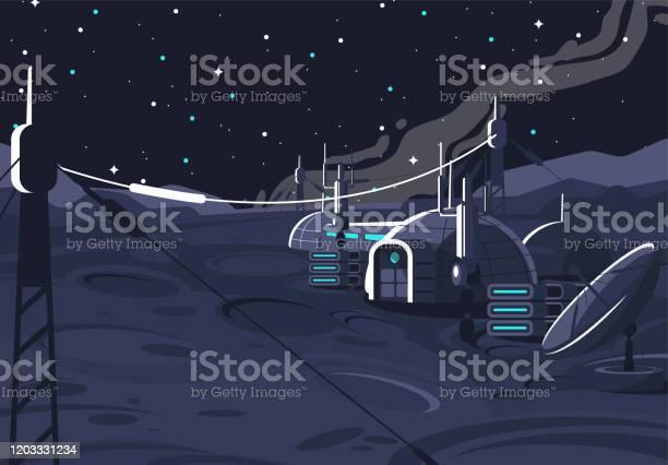 Ilustración de La Estación Orbital Lunar Espacial Módulo Cápsula Habitada En La Luna Comunicación Con La Tierra Casa Espacial En El Satélite y más Vectores Libres de Derechos de Abierto