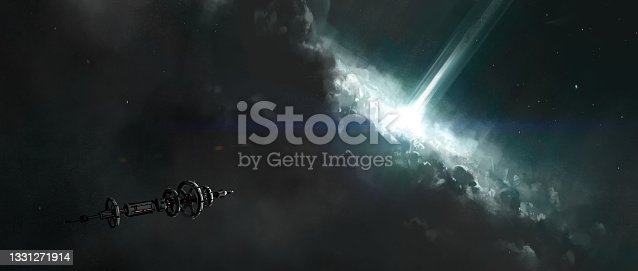 istock The spacecraft travels near the collapsing star, 3D illustration. 1331271914